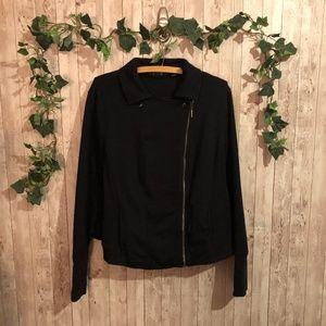 H by Halston Black Side-Zip Moto Jacket